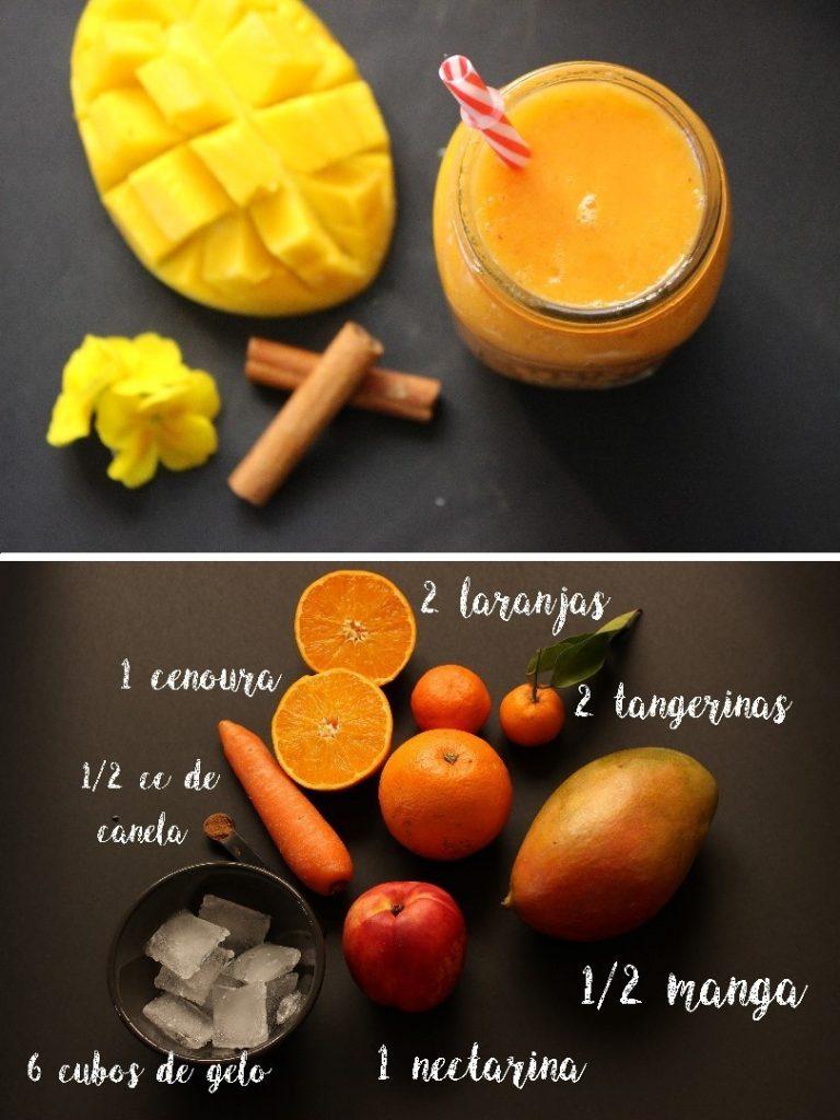 smoothie de manga, laranja e cenoura