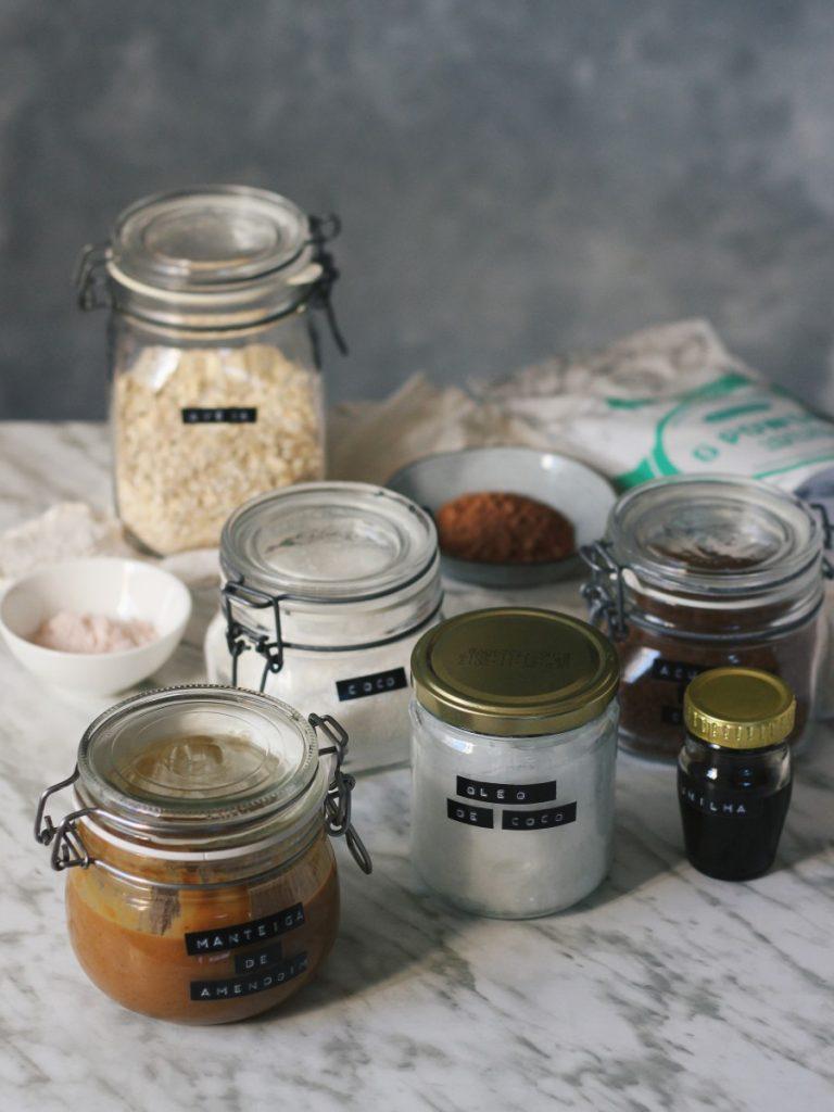 Bolachinhas cruas de coco e cacau - ingredientes