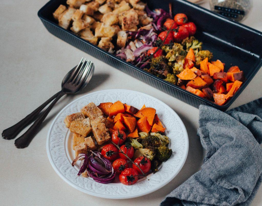 Legumes e Tofu no forno