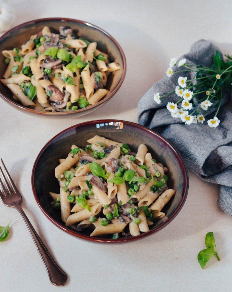 Massa (one-pot) de cogumelos e ervilhas #diaadiaveg