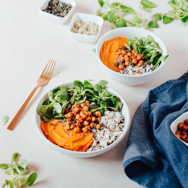 Bowl com puré de batata doce e cenoura + grão #diaadiaveg