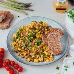 Tofu mexido – com cogumelos e espargos